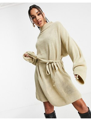 I Saw It First knitted sweater dress with belt in cream-white