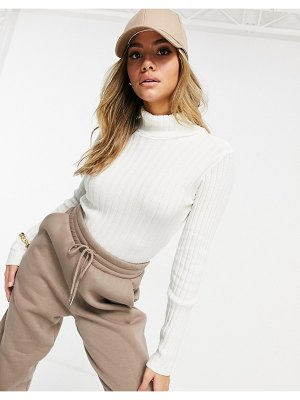 I Saw It First knitted turtleneck cropped sweater in cream-white