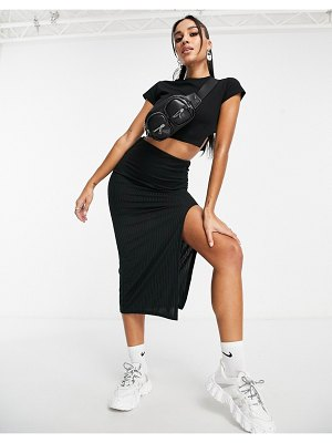 I Saw It First midi skirt with high thigh slit in black