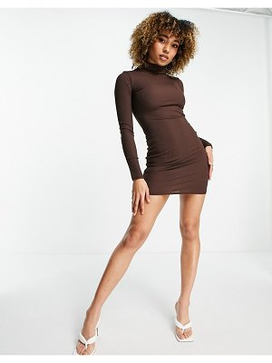 I Saw It First mini dress with face covering in chocolate-brown