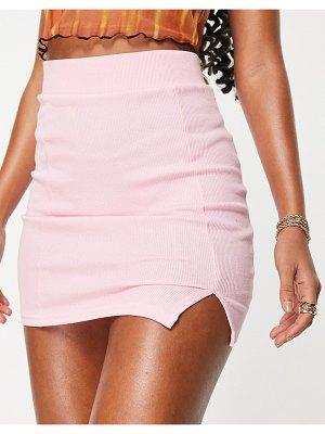 I Saw It First mini skirt with split in pink