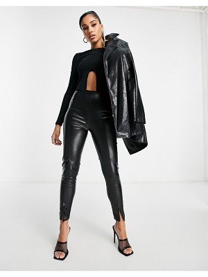 I Saw It First pu slit front pants in black