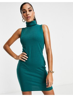 I Saw It First racer back ribbed mini body-conscious dress in emerald green
