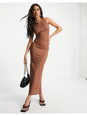 I Saw It First racer front neckline maxi dress in mocha-brown