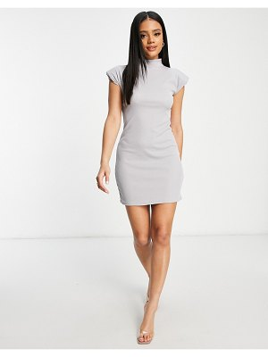 I Saw It First ribbed high neck body-conscious dress with shoulder pads in gray-grey