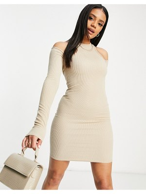 I Saw It First ribbed racer back bardot detail mini dress in oatmeal-white