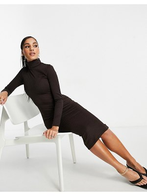 I Saw It First ribbed turtle neck midi dress in chocolate-brown