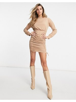 I Saw It First ruched body-conscious high neck sweater dress in camel-tan
