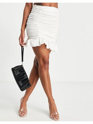 I Saw It First ruched mini skirt in white