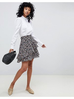 Ichi Floral Flippy Skirt With Ruffle