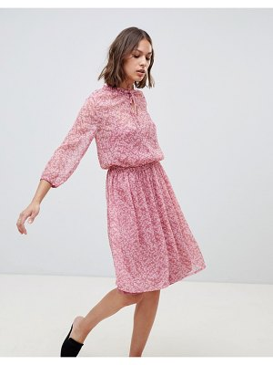 Ichi floral high neck dress-pink