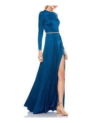 IEENA FOR MAC DUGGAL Embellished Satin Long-Sleeve A-Line Gown
