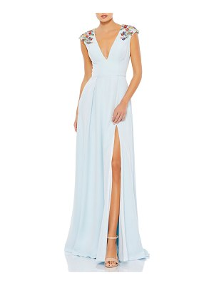 IEENA FOR MAC DUGGAL Floral Beaded Plunging A-Line Gown