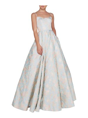 IEENA FOR MAC DUGGAL Floral-Print Square-Neck Sleeveless Ball Gown