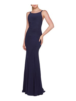 IEENA FOR MAC DUGGAL High-Neck Sleeveless Fitted Jersey Gown with Open-Back