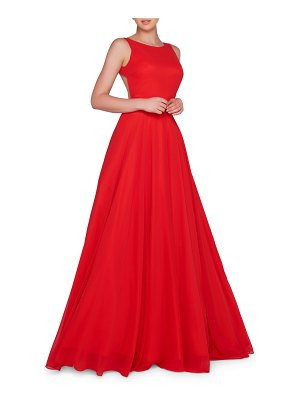 IEENA FOR MAC DUGGAL High-Neck Sleeveless Open-Back Chiffon Gown with Train