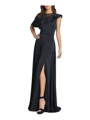 IEENA FOR MAC DUGGAL illusion ruffle a-line gown