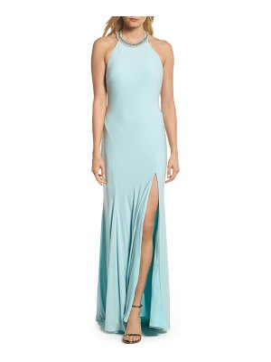 IEENA FOR MAC DUGGAL mac duggal beaded halter neck gown