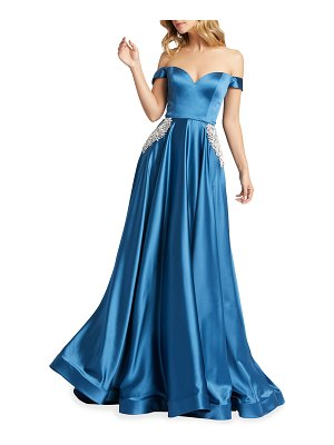 IEENA FOR MAC DUGGAL Off-the-Shoulder Embellished Satin Chiffon A-Line Gown
