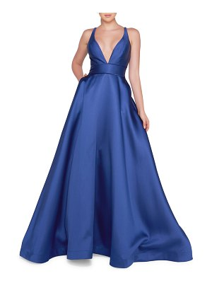 IEENA FOR MAC DUGGAL Sleeveless Plunging V-Neck Mikado Ball Gown