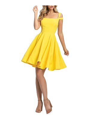 IEENA FOR MAC DUGGAL Square-Neck Double-Strap Mini Fit-&-Flare Dress