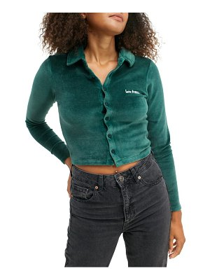 IETS FRANS solid velour polo shirt