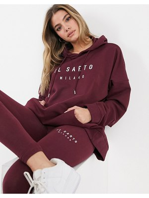 Il Sarto oversized hoodie in burgundy-red