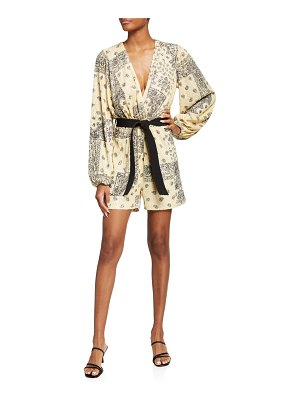 In The Mood For Love Clelia Sequined Bandana-Print Romper
