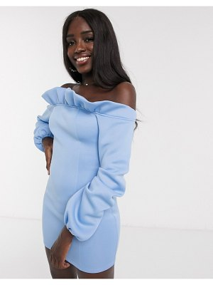 In The Style exclusive bardot puff sleeve mini dress in blue