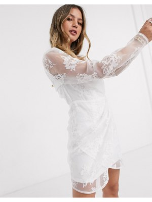In The Style exclusive organza puff sleeve wrap front mini dress in white
