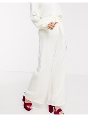 In The Style exclusive relaxed wide leg pants in cream