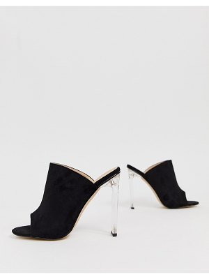 In The Style faux suede mules with clear heels
