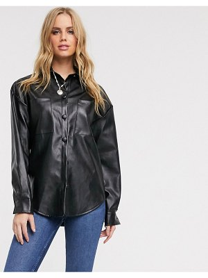 In The Style pu oversized shirt in black