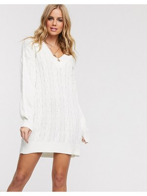 In The Style x billie faiers plunge front knitted mini dress in cream