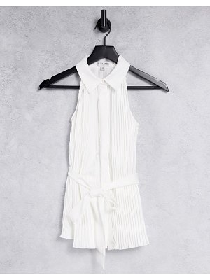 In The Style x billie faiers sleeveless collar detail pleated top with belt in white