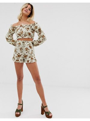 In The Style x dani dyer high waist paperbag short in cream floral-multi