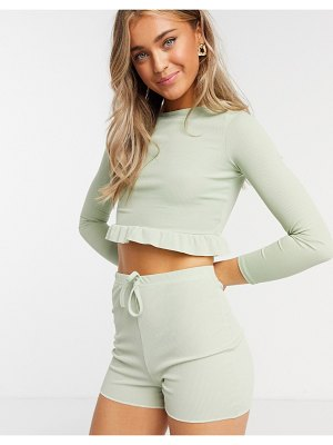 In The Style x demi jones bodycon short in sage-green