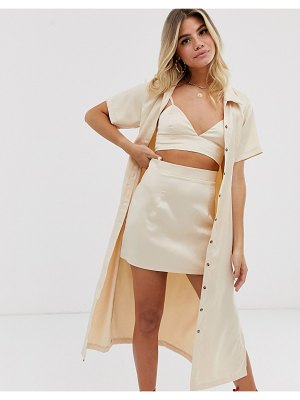 In The Style x fashion influx short sleeve midi shirt in cream