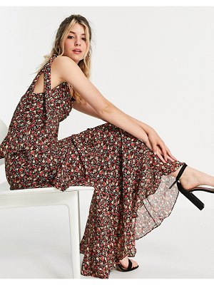 In The Style x jac jossa tie strap ruffle tiered maxi dress in black floral print-multi