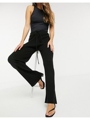 In The Style x lorna luxe lullaby ribbed wide leg pants co ord in black