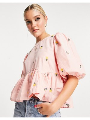 In The Style x lorna luxe puff sleeve swing top in pink floral print