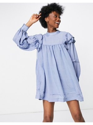In The Style x lorna luxe ruffle shoulder puff sleeve smock dress in textured blue stripe-multi