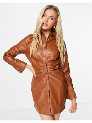 In The Style x naomi genes leather look ruched detail button front mini dress in tan-red