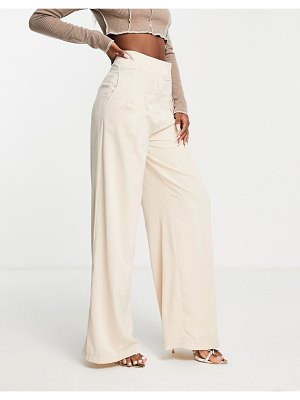 In The Style x naomi genes wide leg pants in cream-white