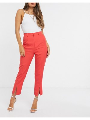 In The Style x saffron barker tapered high waist pants in coral-pink