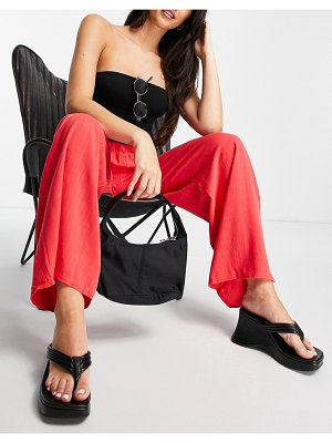 In The Style x saffron barker wide leg trouser in coral-green