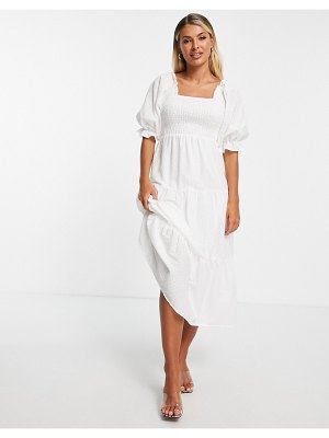 In The Style x stacey solomon shirred detail puff sleeve tiered midi dress in stone-neutral