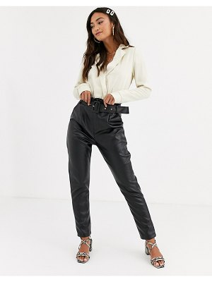 In The Style x stephsa pu paperbag waist pants with belt in black