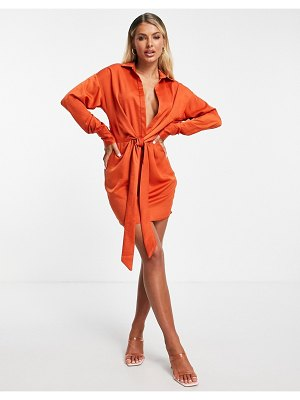In The Style x syd & ell knot front shirt dress in orange