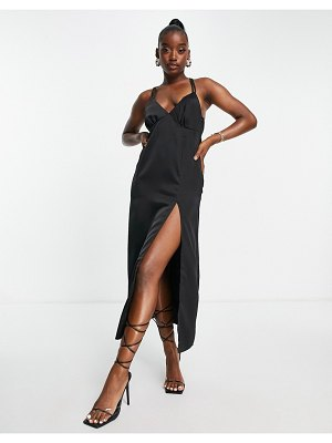 In The Style x yasmin chanel satin maxi dress with thigh slit in black